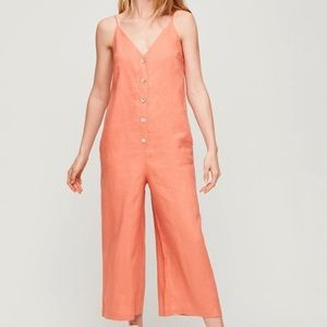 NWT Wilfred Coral Linen Mariska Cropped Jumpsuit S